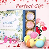 ESSORT Bath Bombs Set, 9 Pcs Natural Effervescent Essential Oil Bath Balls with Exquisite Box, Moisturizing Dry Skin Relaxation, Ideal for Friends Women Birthday Present