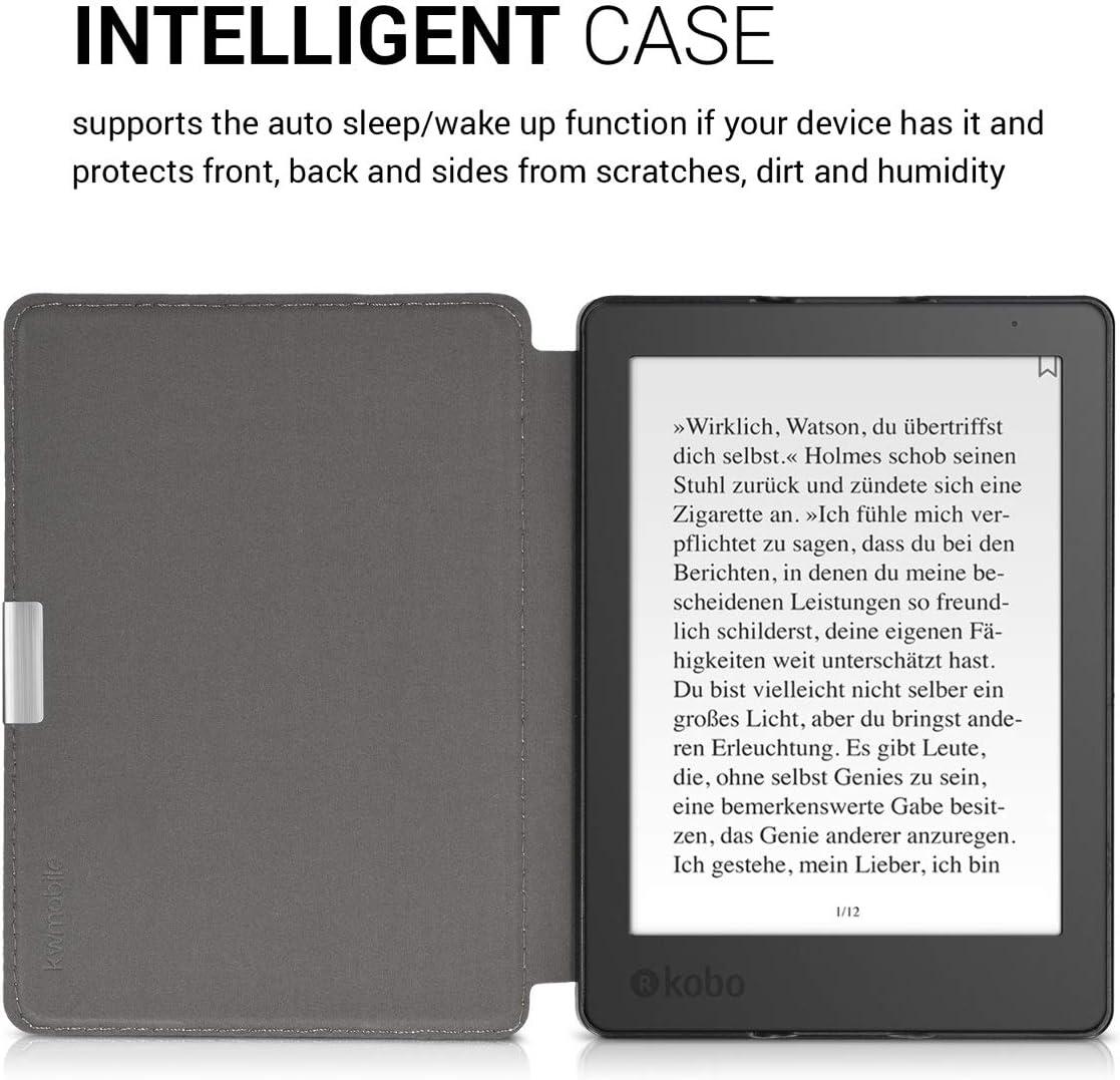 kwmobile /Étui Compatible avec Kobo Aura Edition 2 /Étui /à Rabat Magn/étique pour Tablette en Tissu et Similicuir bleu fonc/é-noir