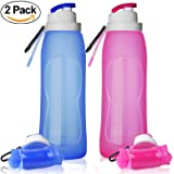 ll127 Collapsible Water Bottles, TurnRaise Silicone Hiking Water Bottle FDA-approved Roll Up Cup for Outdoors, Hiking, Camping, Biking and Traveling Set of 2 Pack