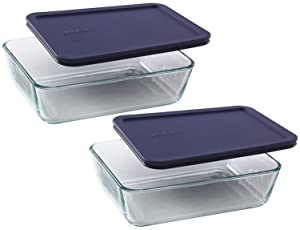Pyrex COMINHKR067794 6017400 Simply Store 11-Cup Rectangular Bakeware Dish, 6 Box of 2 Containers, Clear; Blue Cover