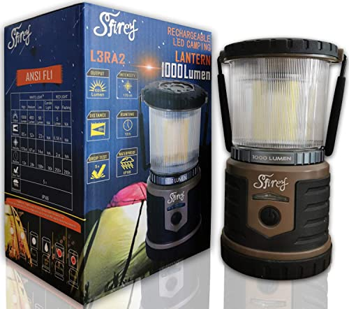 Sfirey 1000 Lumen LED Rechargeable Lantern Outdoor 200 Hours Runtime Camping and Emergency Light Taupe