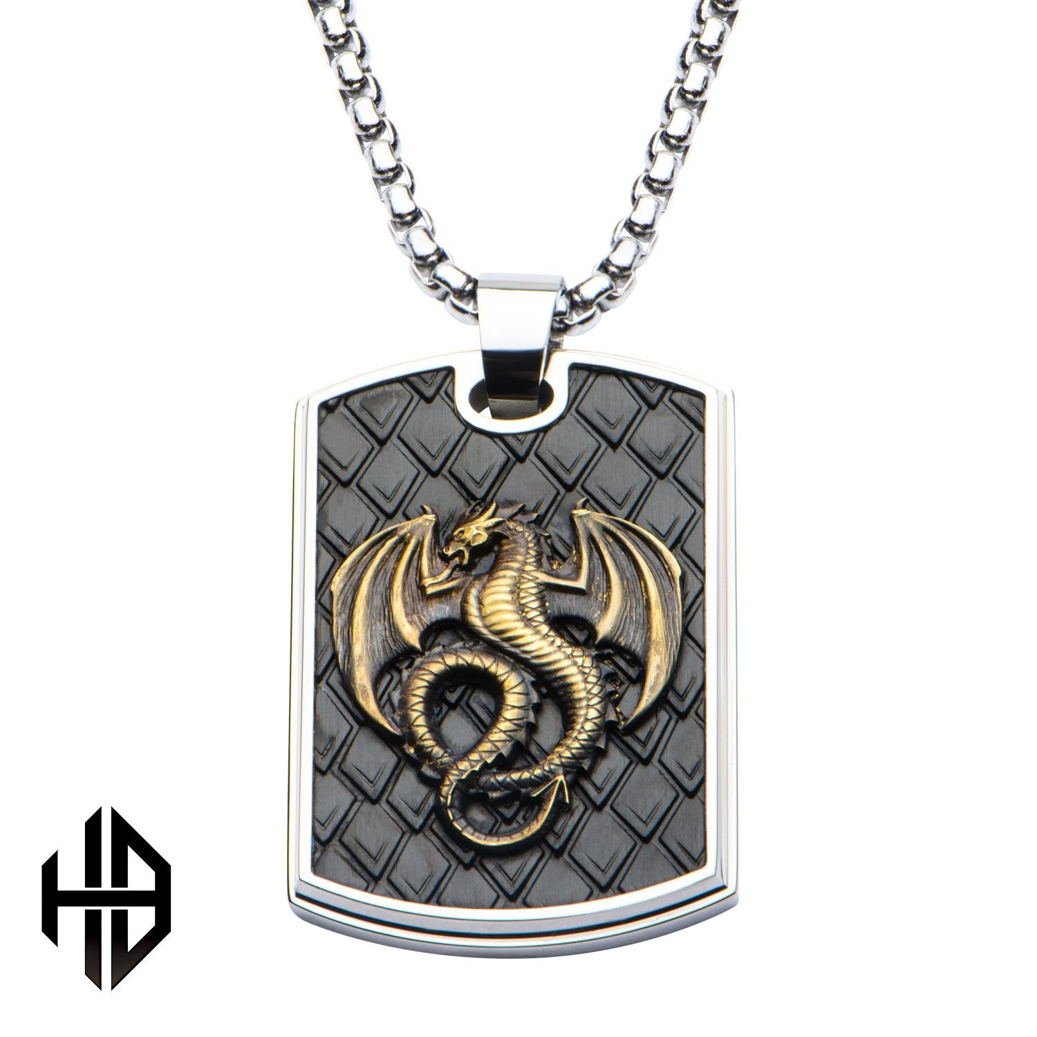 Hollis Bahringer Mens Antique Stamped Brass Dragon Stainless Steel Polished Dog Tag Pendant with Chain