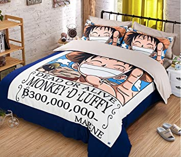 MeMoreCool Japanese Anime One Piece 4 Piece Bedding Sets Luffy