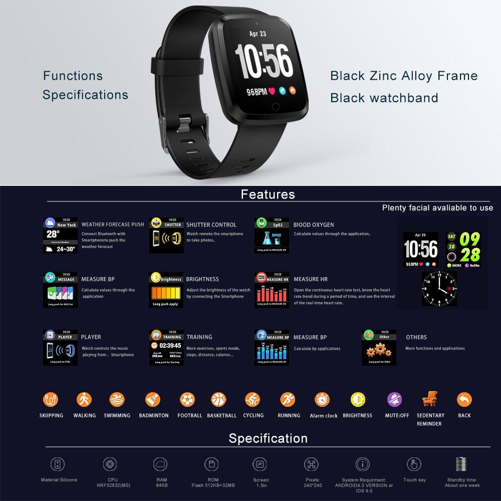 Reloj Inteligente Bluetooth 4.0, Pulsera Inteligente de Actividad ...