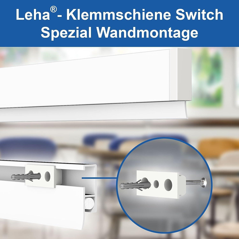 Klemmschiene Switch Spezial Softgummi, Wandklemmschiene, Klemmleiste weiß Aluminium Leha