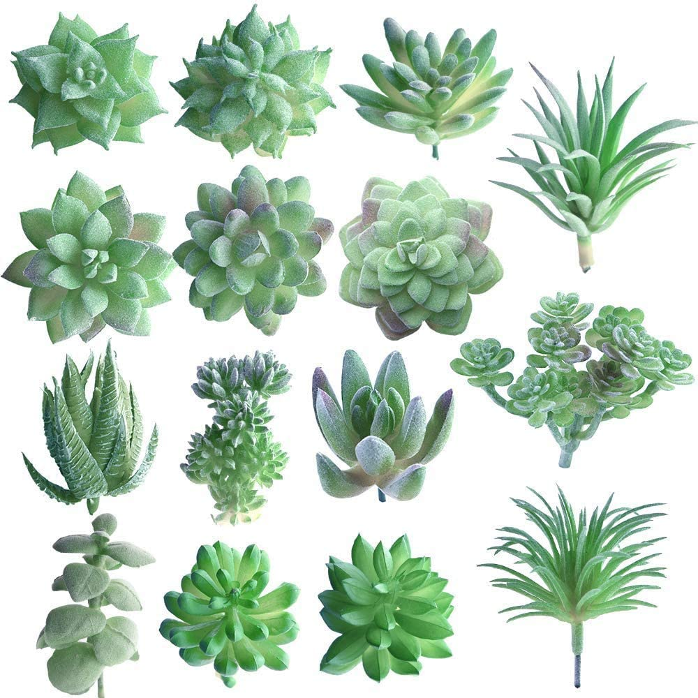 Dragon Honor 15 Pcs Artificial Succulent Plants Green Unpotted Faux Flower Succulents Mini Picks Bulk Stems for Home Indoor Fairy Garden Decorations (Random)