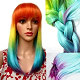 KISSPAT Neon Fun Ombre Wig With Bang, Cool Synthetic Wigs, Fun Rich Colors Gradual Styles, Adjustable Size For Kids & Adults
