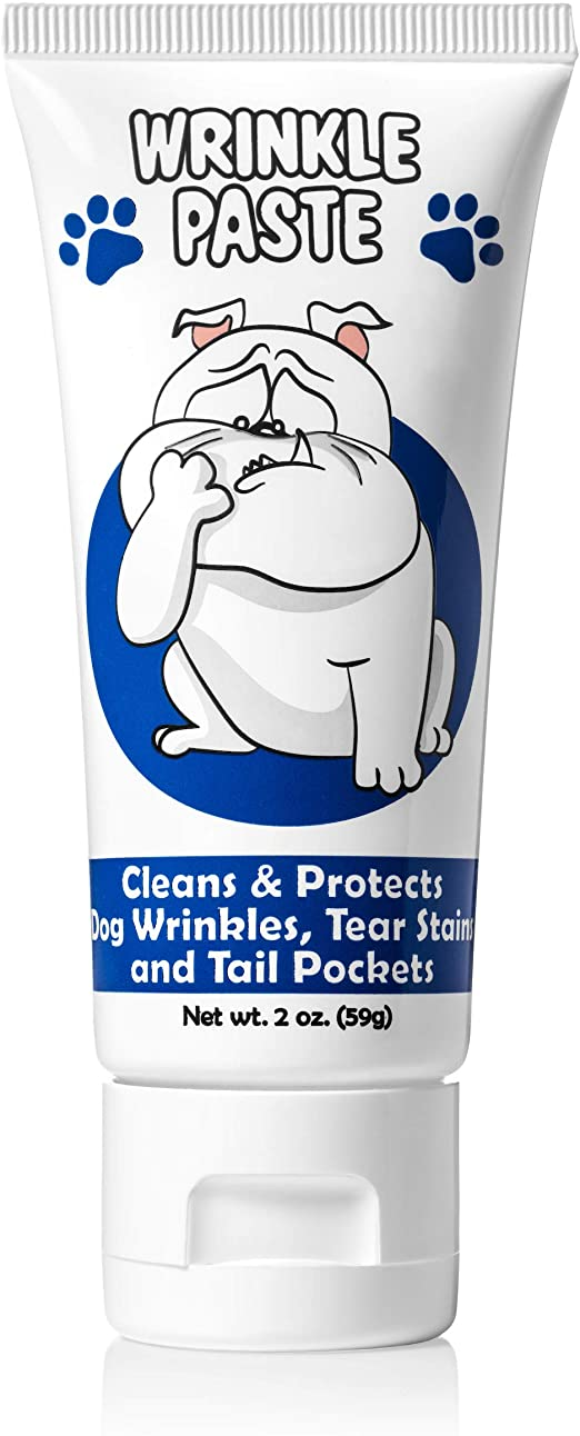 Squishface Wrinkle Paste - Cleans Wrinkles, Tear Stains and Tail Pockets - 2 Oz, Anti-Itch, Great for Bulldogs, Pugs and Frenchies