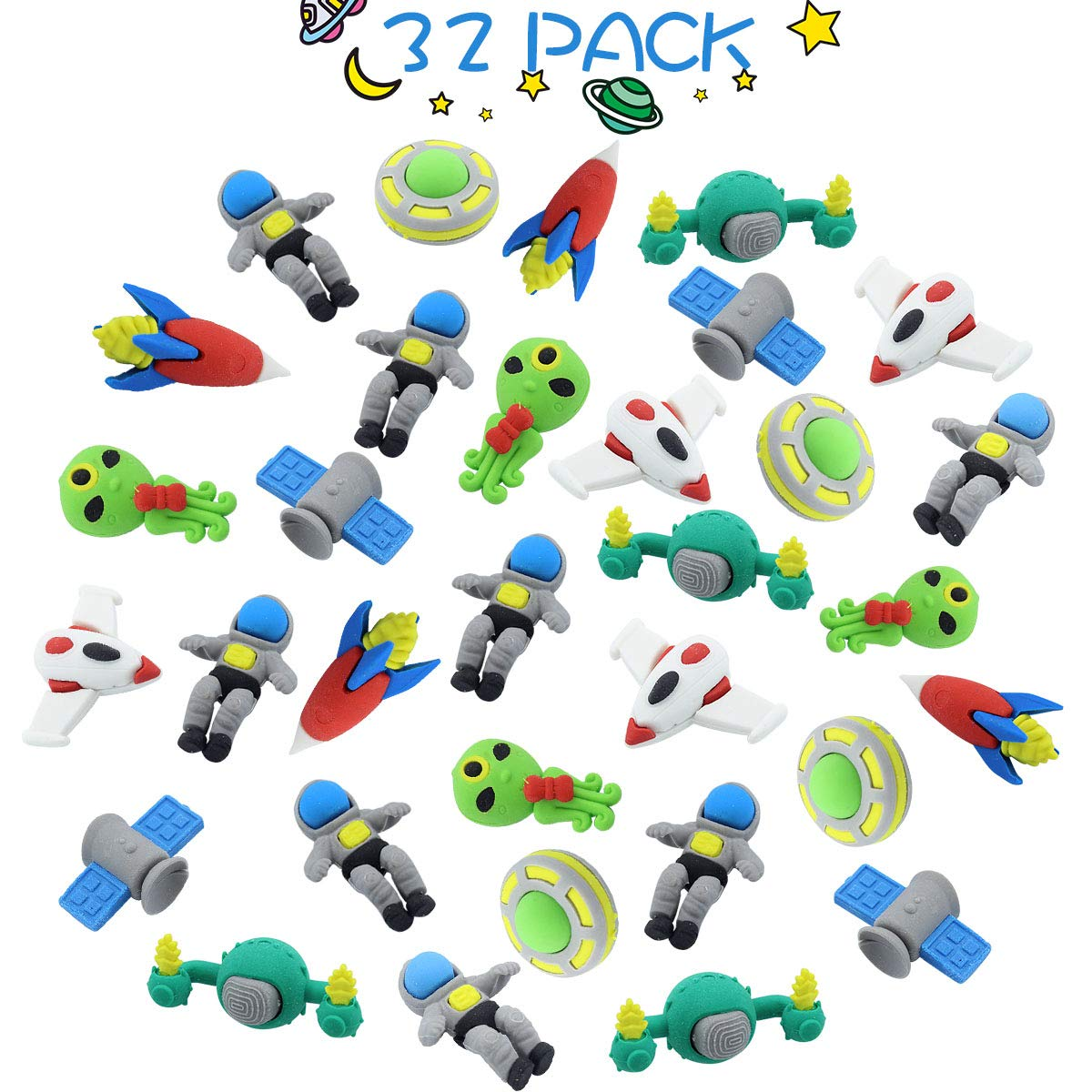 GeeVen 32 PCs Pencil Erasers Outer Space Erasers Puzzle Erasers for Kids Party Favors Supplies