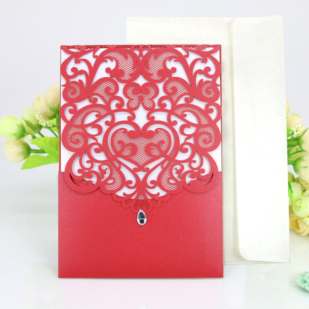 Amazon.com: WOMHOPE 50 Pcs - Classics Vertical Wedding Invitation ...