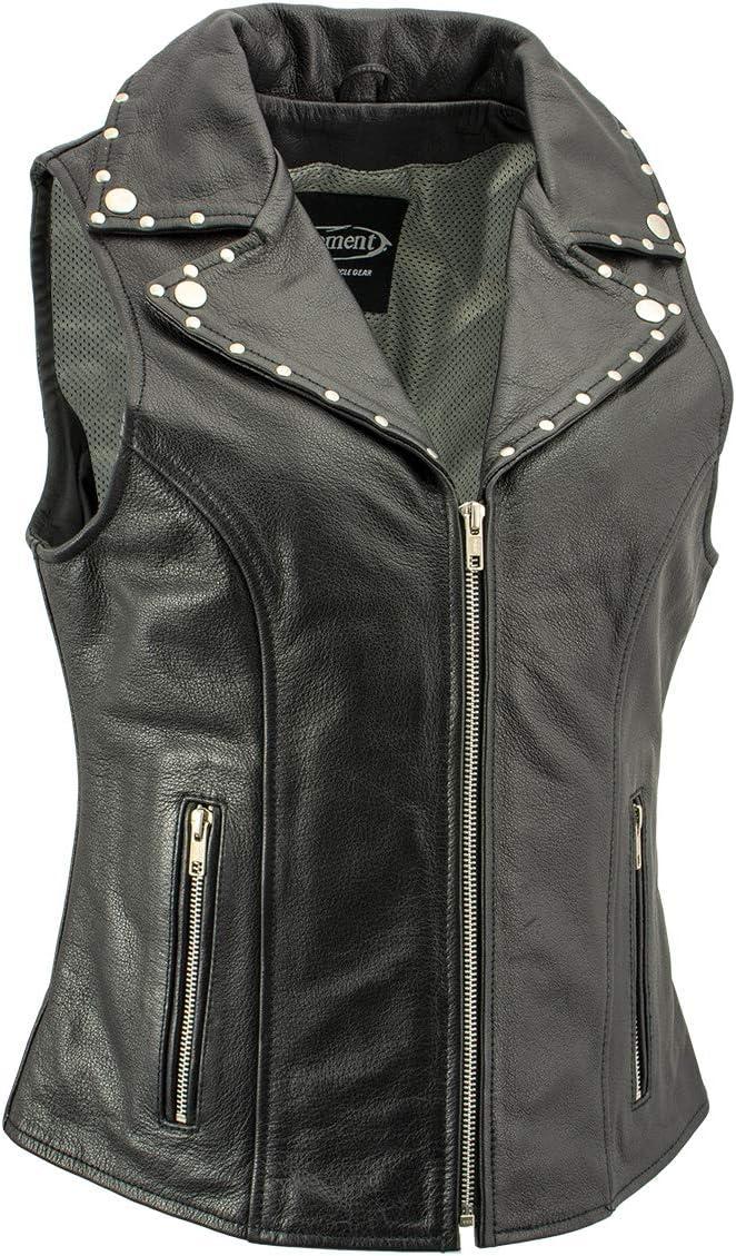 Xelement Dita XS1028 Ladies Black Leather Vest with Riveted M//C Lapel Collar X-Large
