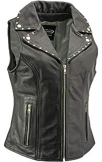 Xelement XS1029 Paisley Ladies Black Leather Vest with Side Lace Adjustment