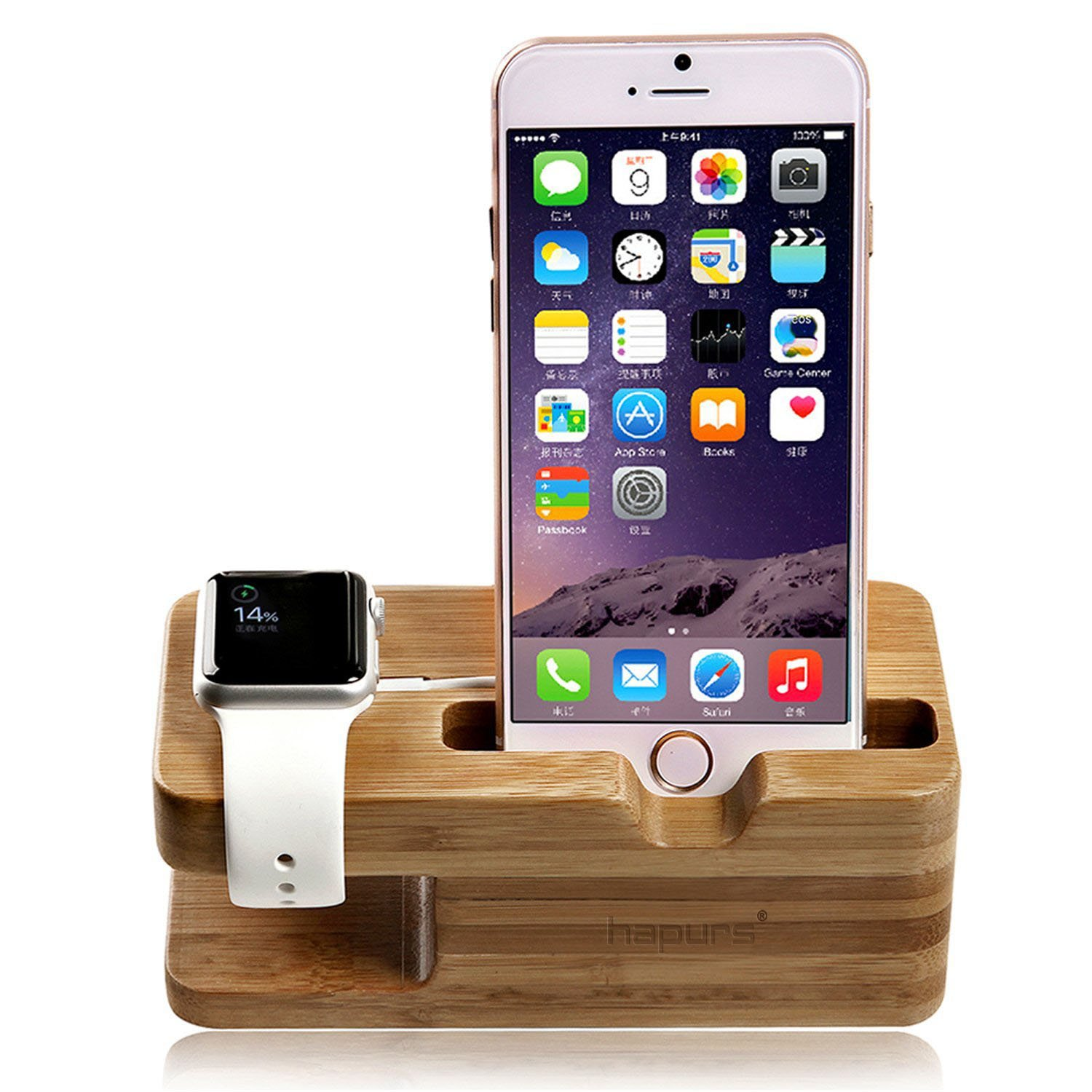 new arrival 9cc70 e483a Apple Watch Stand, Hapurs iWatch Bamboo Wood Charging Dock Charge Station  Stock Cradle Holder for Apple Watch Both 38mm and 42mm & iPhone 6 6 Plus 5S  ...