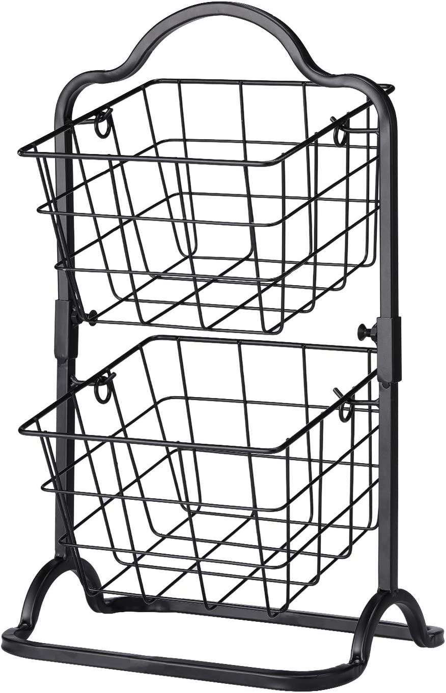 2-Tier Metal Basket Stand, Mini Kitchen Storage Basket Countertop Shelf Rack for Fruits, Vegetables, Household Items, Toiletries(Black).