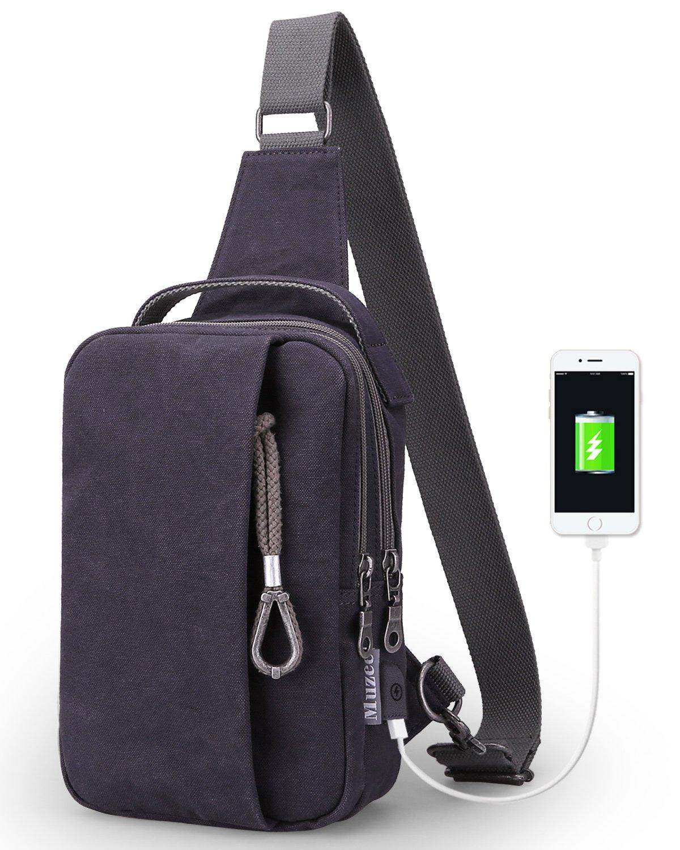 Muzee Mens Sling Backpack Shoulder Travel Bag Crossbody Pack with USB Charging Port for Running Purple blue