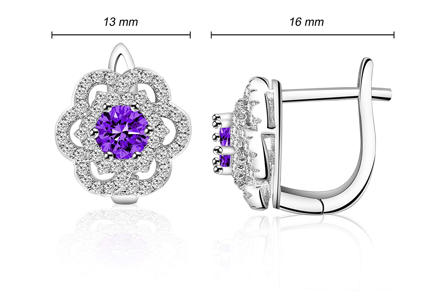 Colorful CZ Flower Snowflake Starriness Earrings for Girl Woman Man Luck Dora Platinum White Gold Plated with AAA