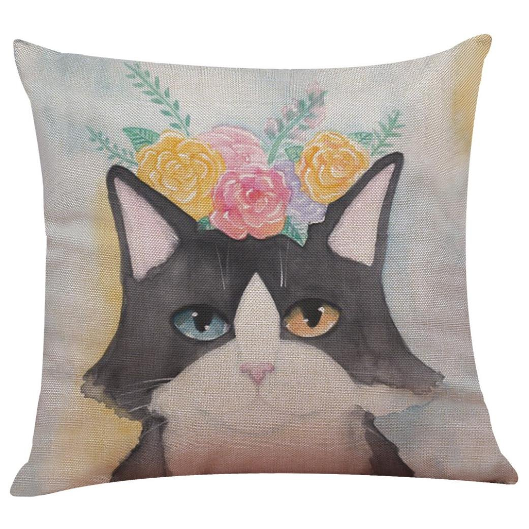 Cushion Cover, HUHU833 43cm*43cm Cute Cat Sofa Bed Home Decoration Festival Pillow Case (A)