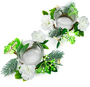OYATON Glass Tealight Candle Holder Set with Small Flower Candle Rings Wreath 2 Packs for Spring Summer Easter Home Table Centerpiece Decor (Exclude Candles)