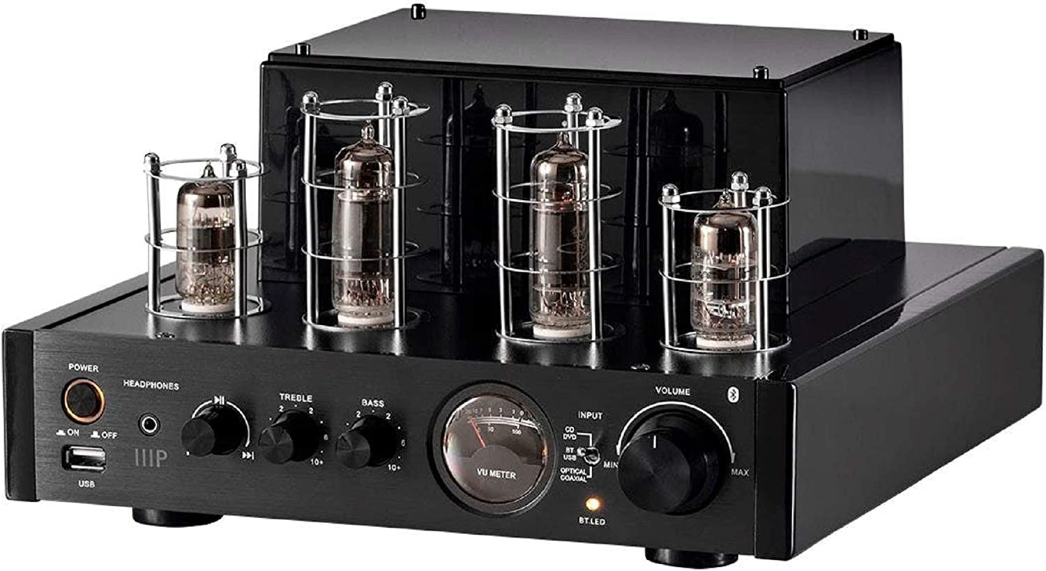 Monoprice Stereo Hybrid Tube Amplifier 2019 Edition, 25 Watt with Bluetooth, Wired RCA, Optical, Coaxial, and USB Connections, and Subwoofer Out