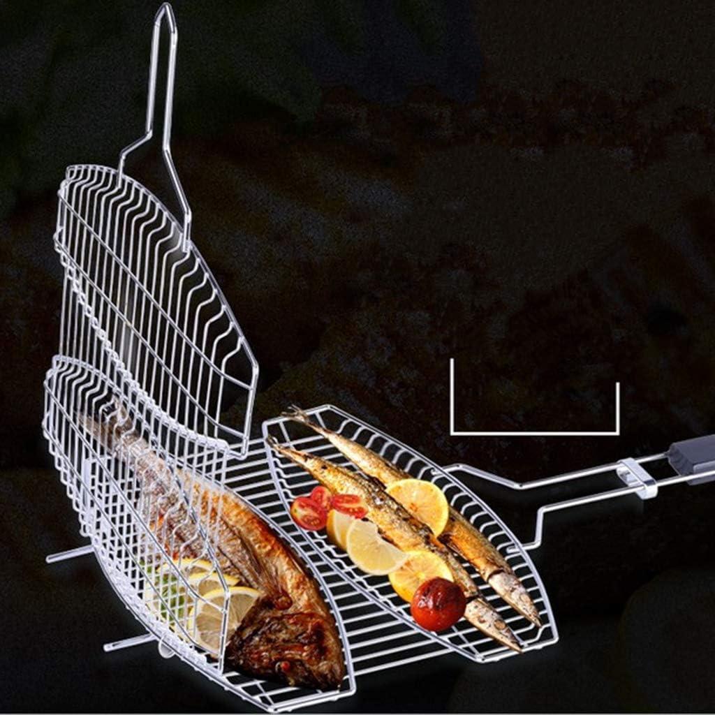 Baoblaze Grillkorb Grillwender Grillgitter Grillguthalter Fischhalter A#Wurst Grillkorb aus Edelstahl