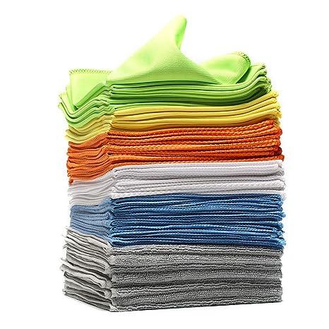 Un conjunto de 24 toallas 30x30cm limpiadoras con efecto completo, hechas de 6 materiales diferentes