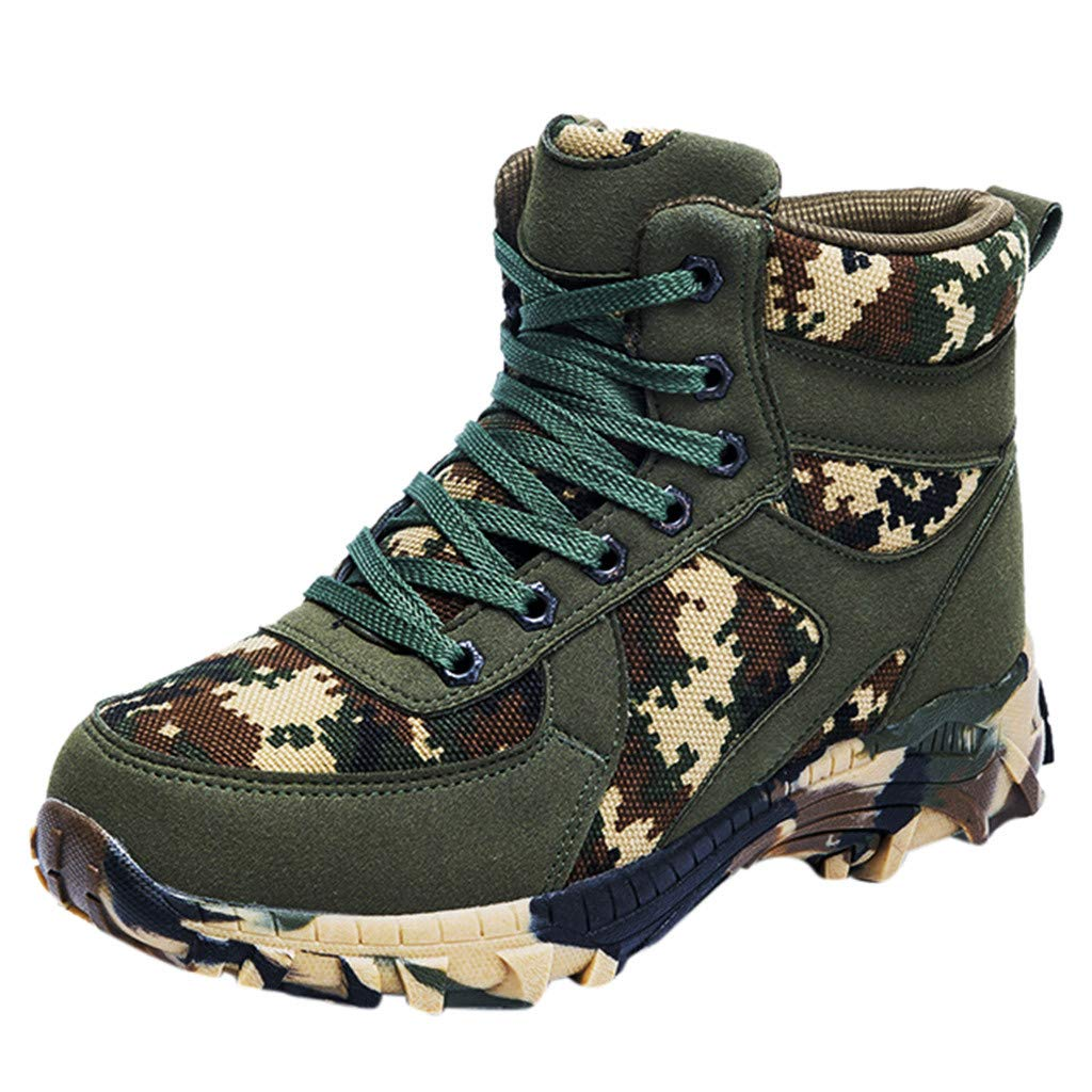 LBPSUUEW Men's Hiking Boots Tactical Boots Lightweight Breathable Military Boots Waterproof Camouflage Boots