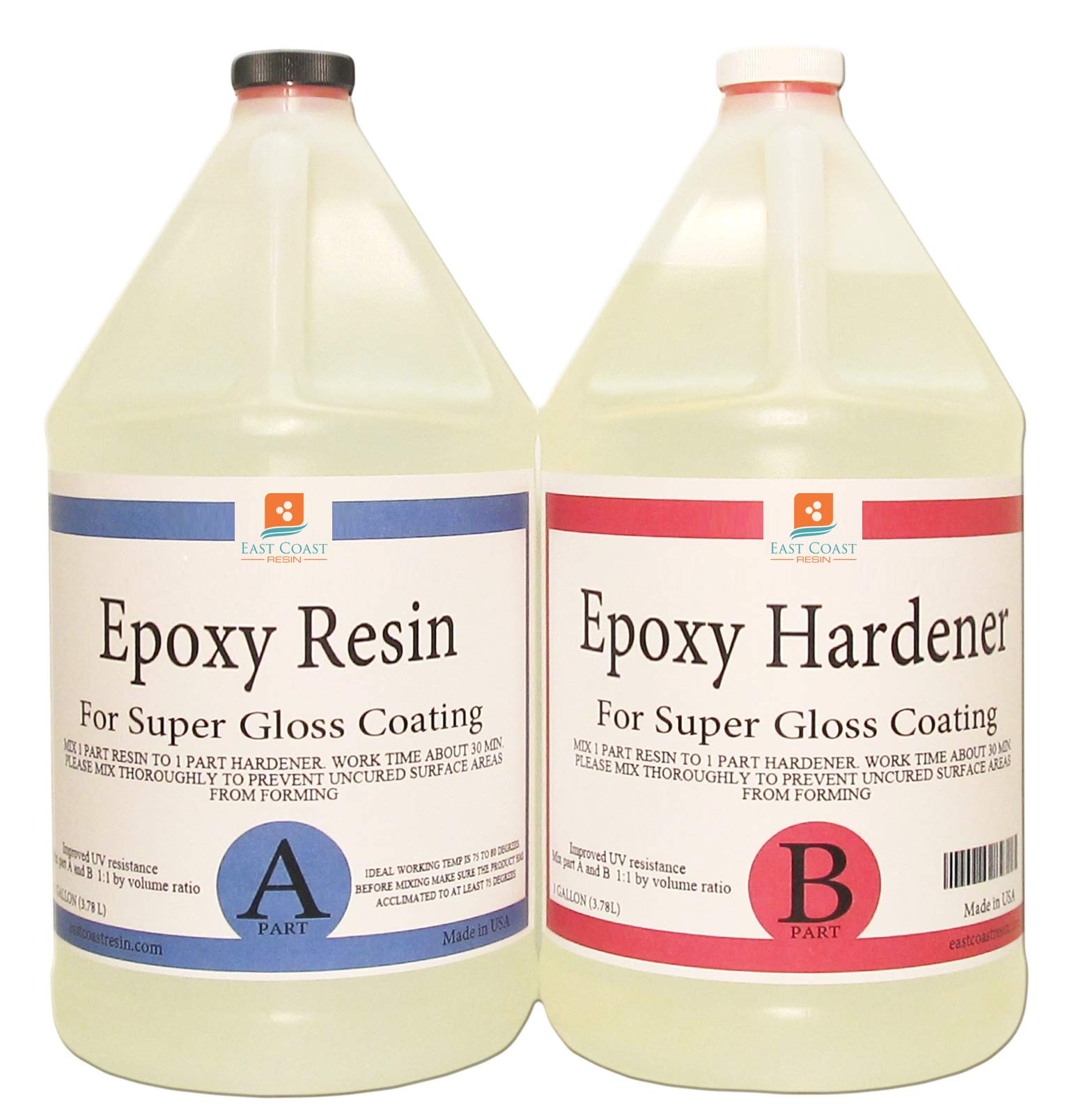 EPOXY Resin 2 Gallon Kit. for Super Gloss Coating and TABLETOPS by East Coast Resin