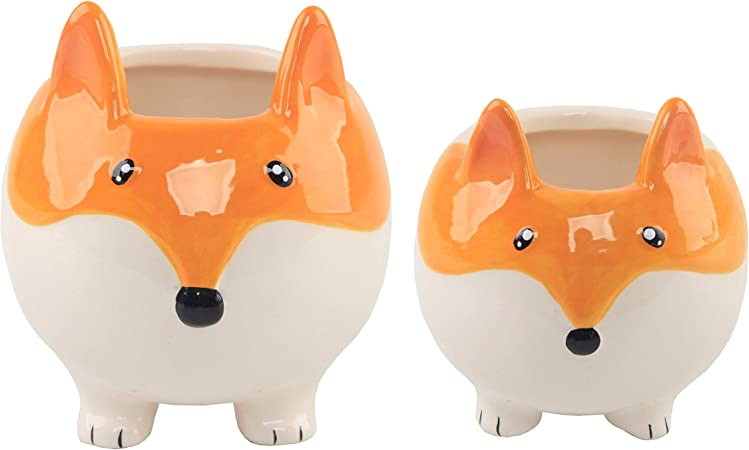 New Ceramic Flora Fox Animal Planter Orange White 5 in x 2.75 for Succulents