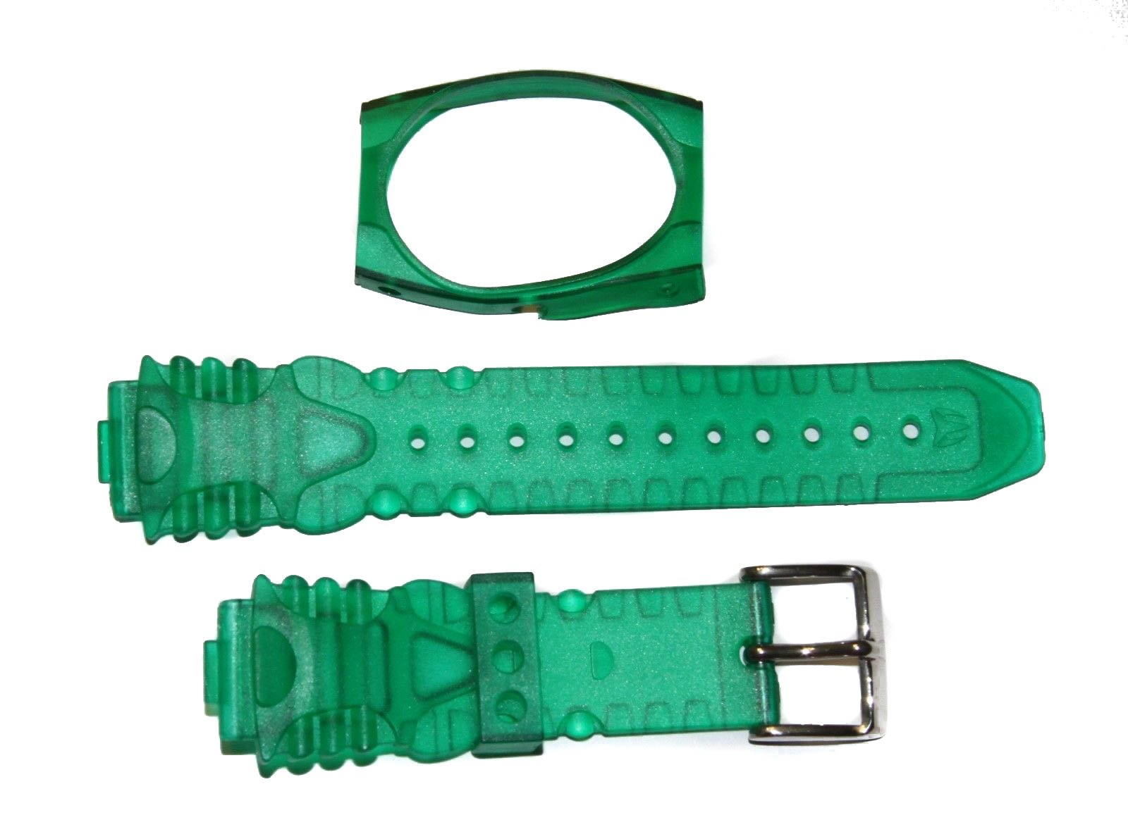 TechnoMarine 1034 17MM Gel Plastic Watch Strap Band with Cover in Transparent Green & Logo Stainless Buckle