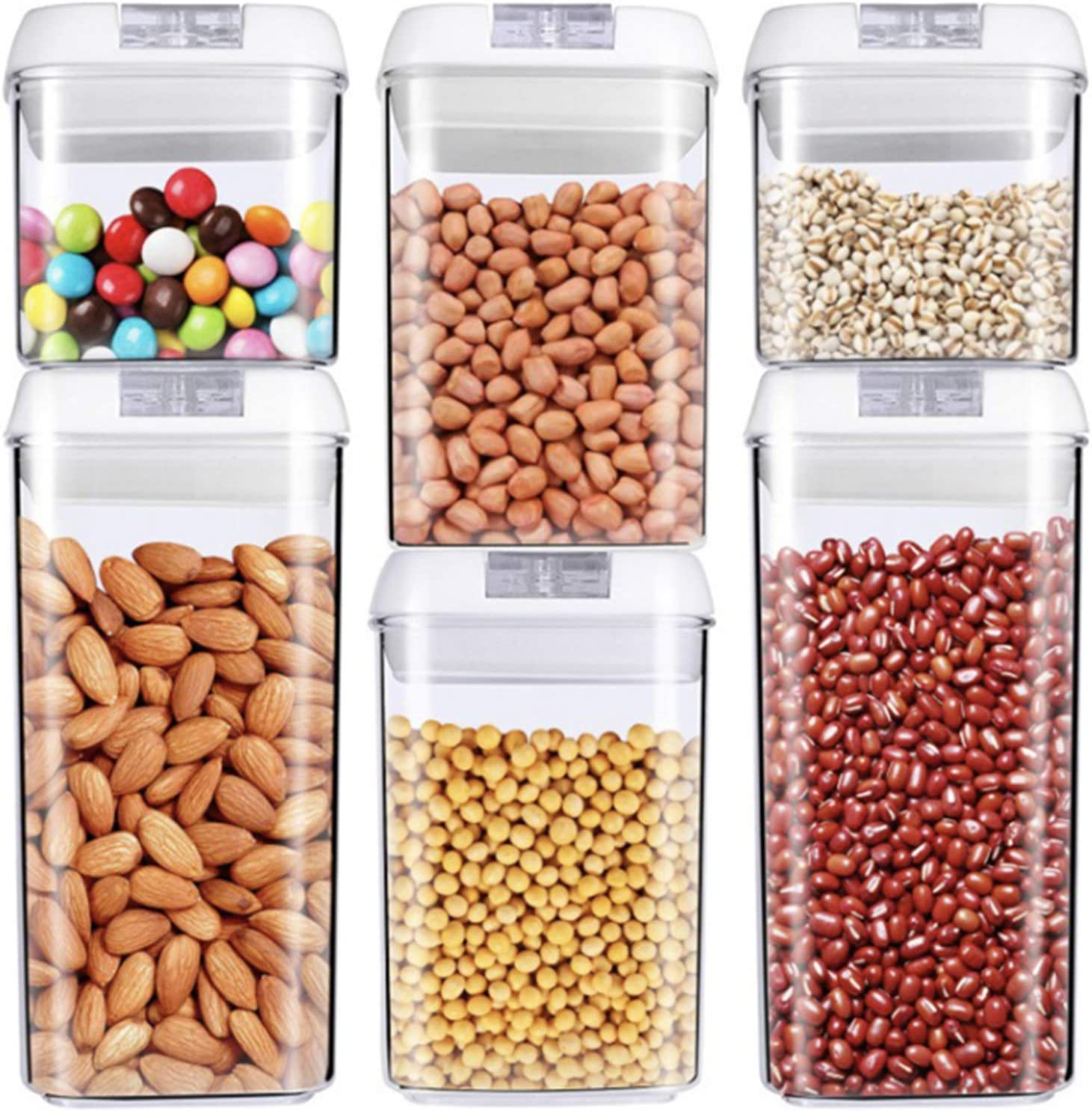 6 Pieces BPA Free High Air-tight Food Storage Containers, Stackable Plastic Cereal Container Storage Set With Lid,Very Suitable For Dried Fruits,Grains and Snacks (2X0.5qt+2X0.8qt+2X1.2qt).
