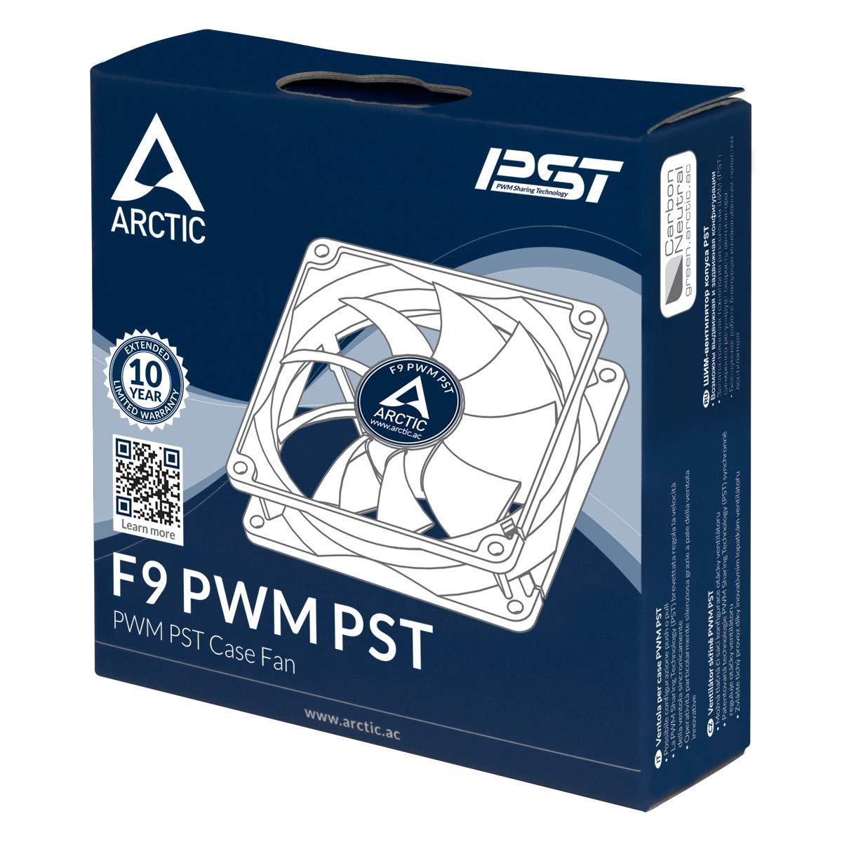 Arctic F9 PWM PST Noir Ventilateur Boitier Absorbeur de Vibrations Brevet/é Fonction de Partage PTS Refroisisseur Ultra Silencieux 92 mm