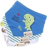 ninos saliva toalla - crtartu Pack de 3 baberos con imagenes divertidad para ninos dinosaur