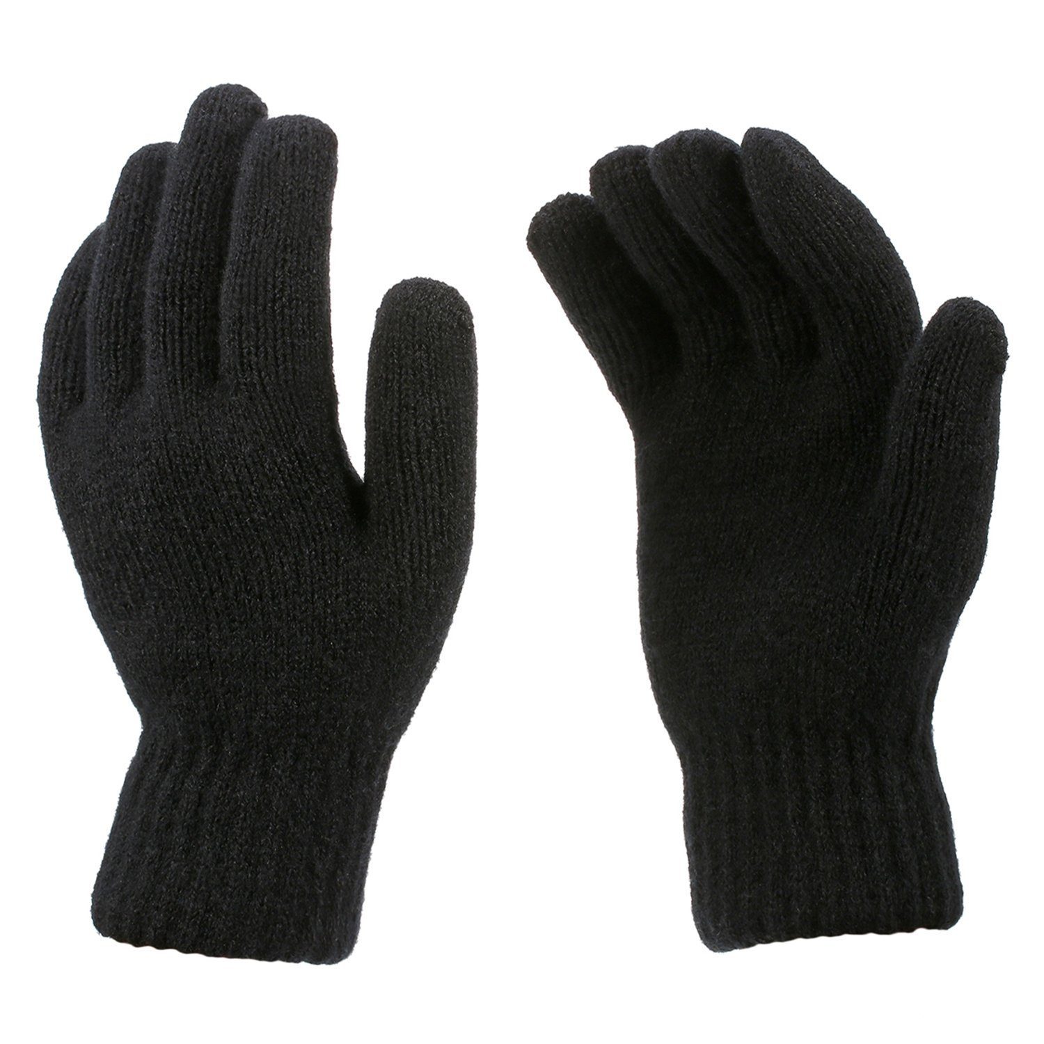 2 Pairs Thermal Winter Gloves Unisex Stretchy Plush Lining Thick Knitted Gloves for Men Women, Black
