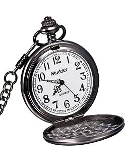 amazon com mudder vintage mens pocket watch golden watches mudder classic smooth vintage black steel mens pocket watch