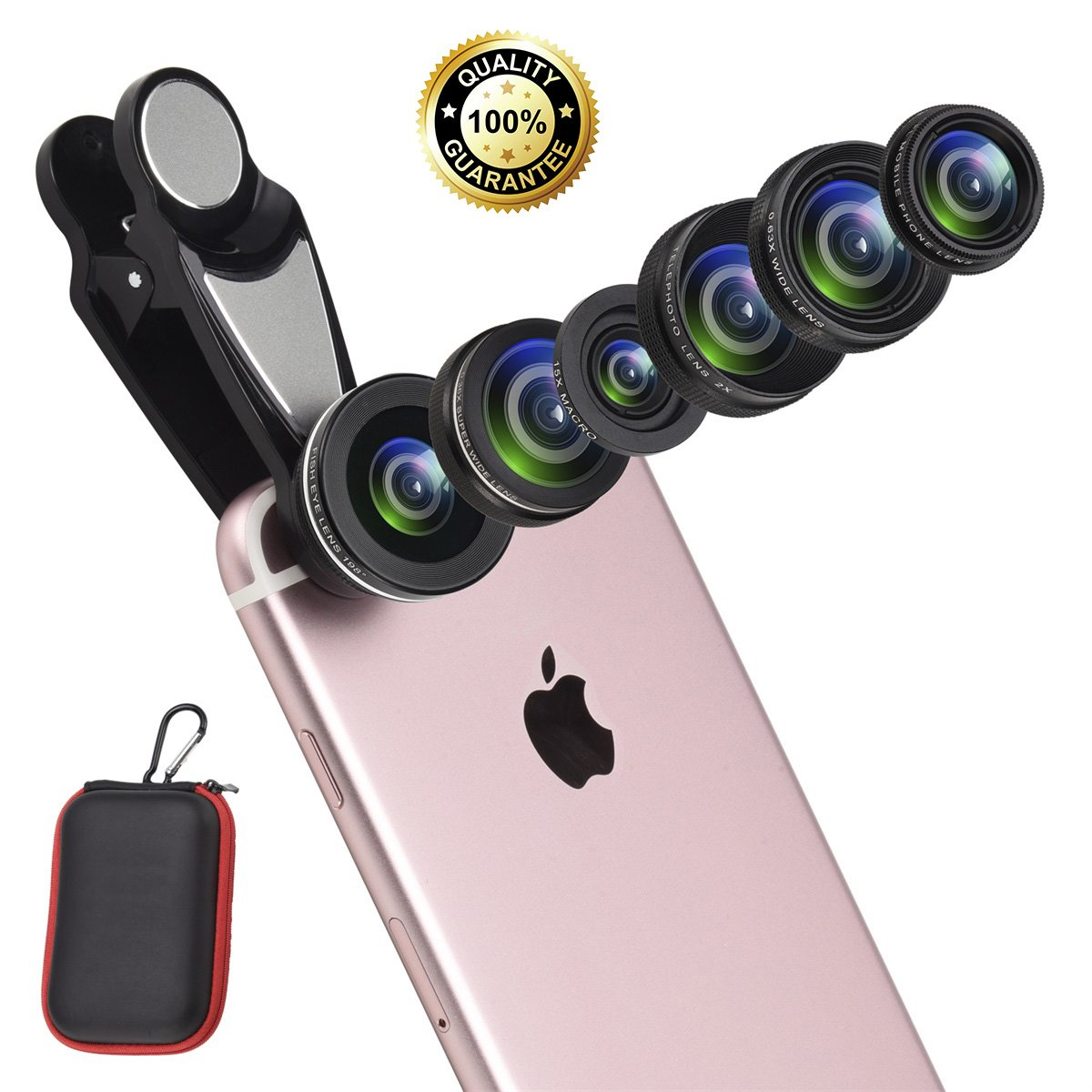7 in 1 Cell Phone Lens Kit with Case, Super Fisheye Lens + 0.63x Wide Angle lens + 0.36x Super Wide Angle Lens + 15x Macro Lens + 2x Telephoto Lens+ Kaleidoscope + CPL Lens