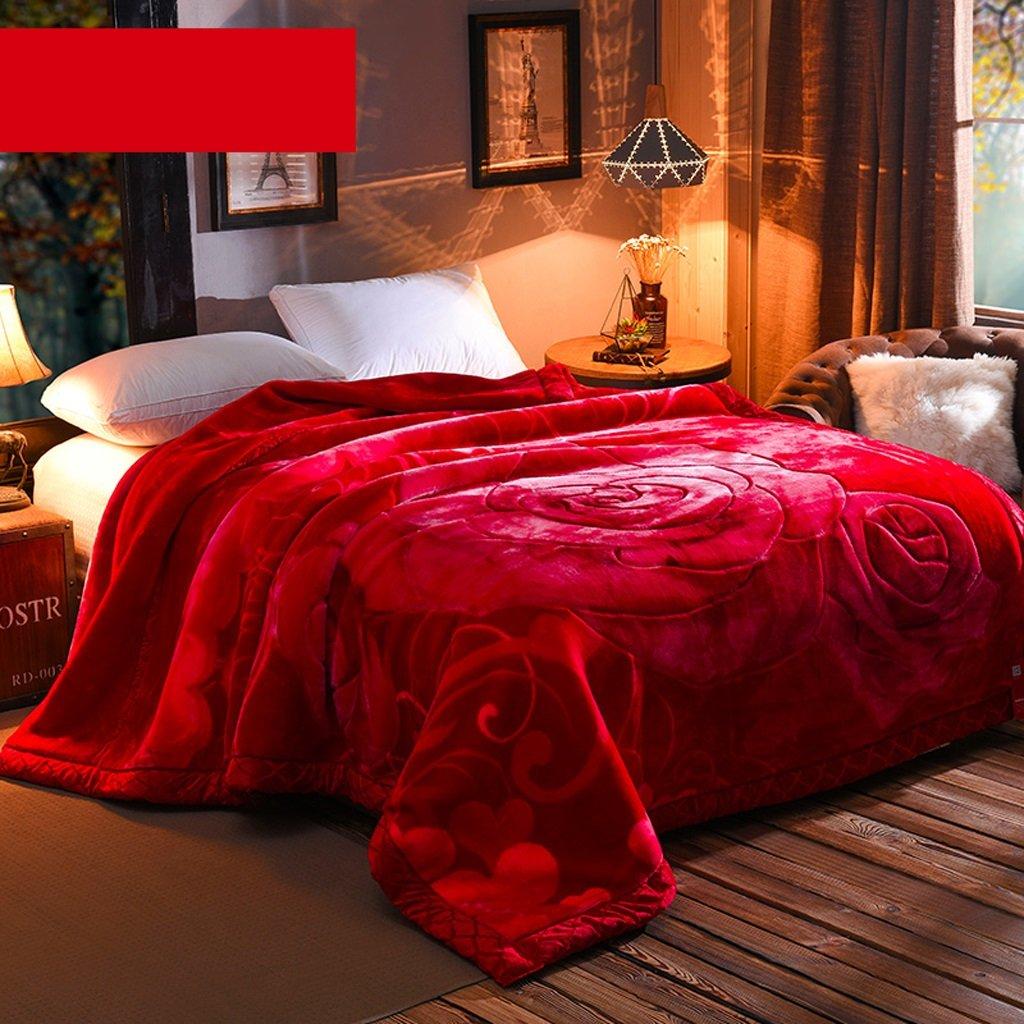 gr/ö/ße : 180*220cm Wddwarmhome Rote Decke Leisure Blanket Raschel Blanket Weiche und bequeme doppelte W/ärme Wolldecke