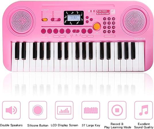 Zmoon Piano de Niños, 37 Teclado Electrónico Multifuncional ...