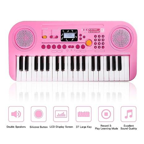 Zmoon Piano de Niños, 37 Teclado Electrónico Multifuncional Órgano Eléctrico para Pequeños y Principiantes (