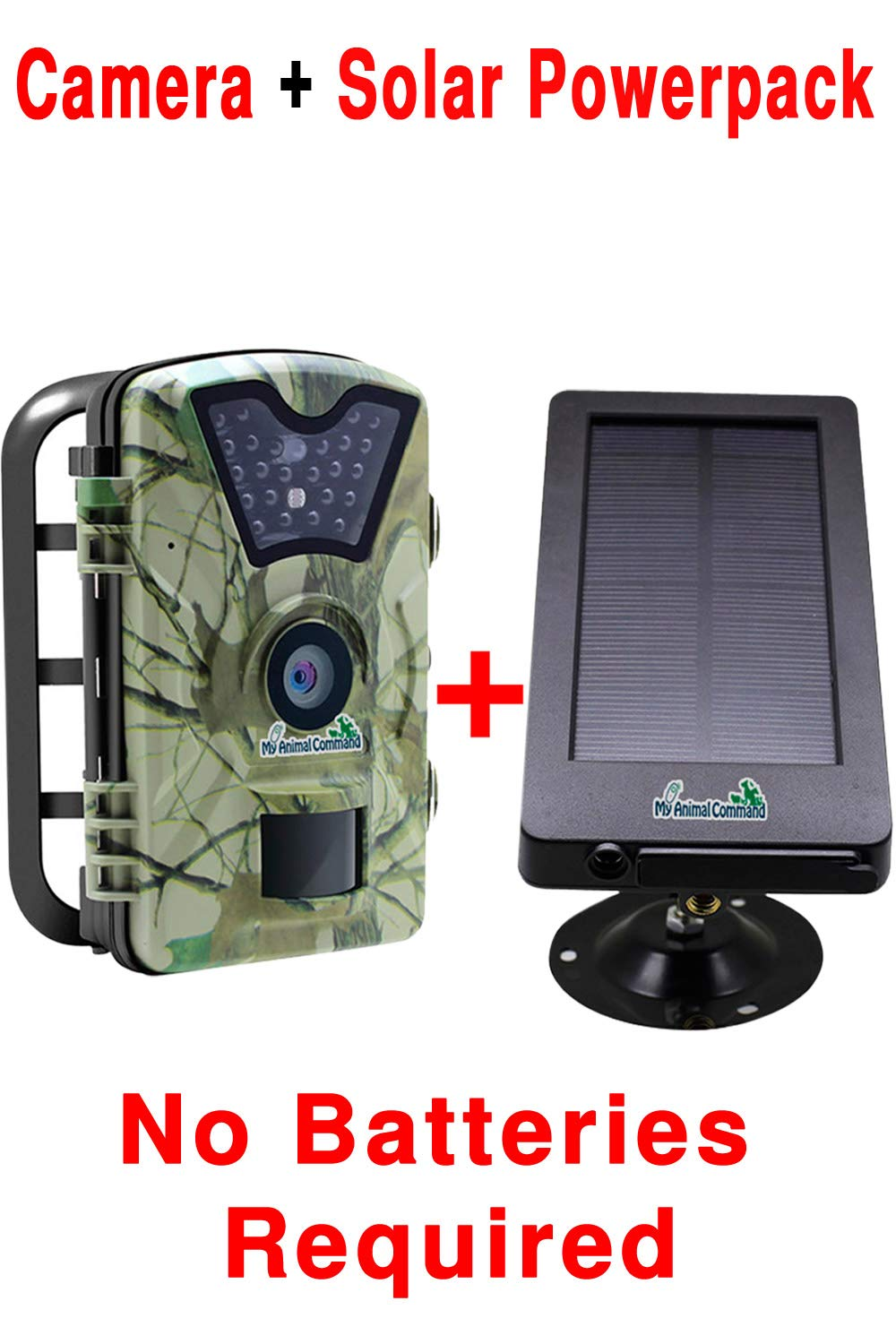 MyCommand Solar Trail Camera 12MP Animal Game Time Lapse Cam with Night Vision Motion Activated, IP66 Waterproof 1080p Spy Outdoor Deer & Wildlife Hunting. (12MP Camera and Solar Power Pack Bundle) by My Animal Command