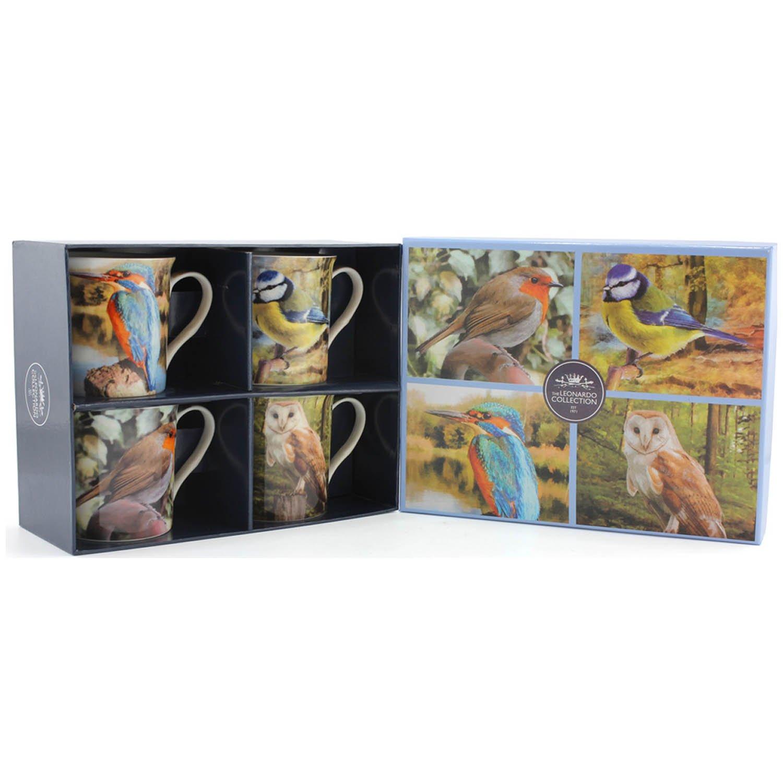 12 x 8 x 9 cm Fine China Lesser /& Pavey Set of 4 Redoute Rose Mugs Multi-Colour