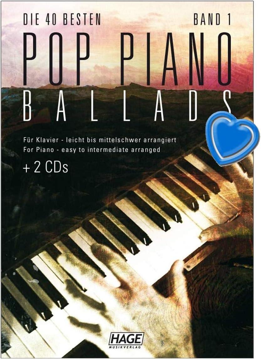 Baladas para piano, 2 CDs, las 40 mejores canciones de las últimas décadas, para piano, con pinza en forma de corazón para las partituras