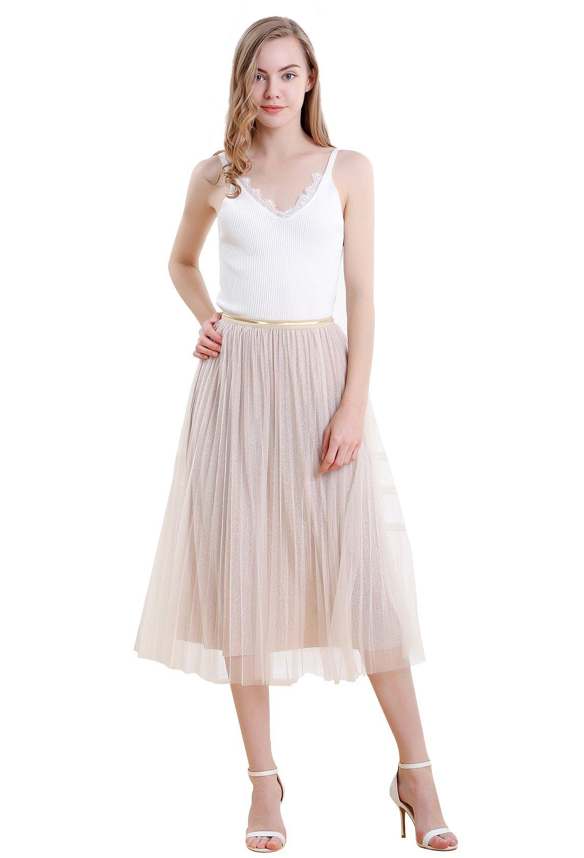 Vero Viva Women Summer Tulle Mesh Bling Bling Elastic High Waist Skirt Half Dress Pink