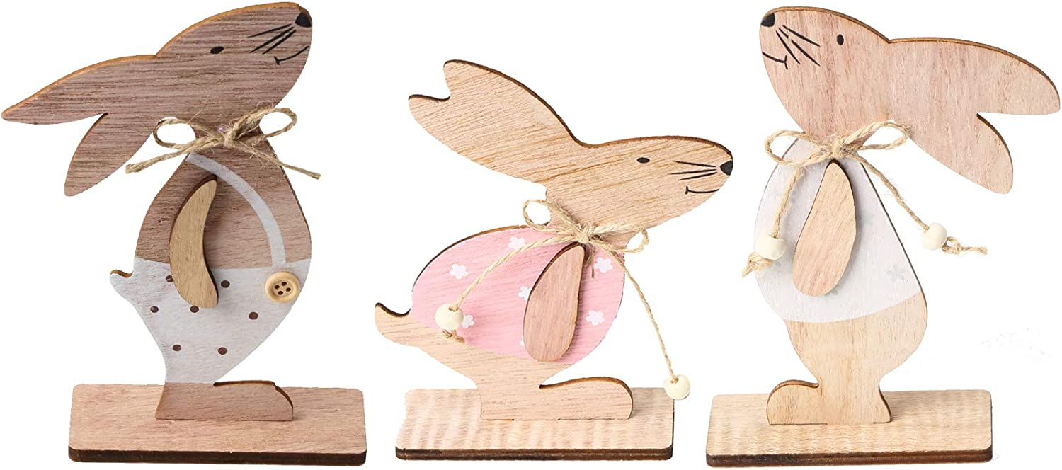 KEFAN Pack of 3 Small Easter Wood Bunny Tabletop Decor Cute Easter Wooden Craft Ornaments for Home Store and Office Decoration