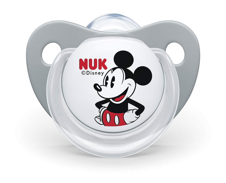 NUK 10176213 Disney Mickey Mouse Trend Line Chupete, silicona, 6 – 18 meses, sin BPA), 2 unidades), color gris
