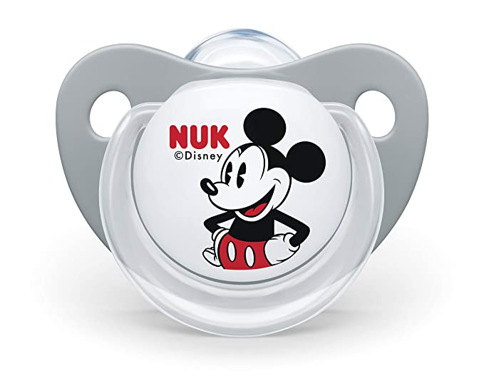 NUK 10176213 Disney Mickey Mouse Trend Line Chupete, silicona, 6 – 18 meses, sin BPA), 2 unidades), color gris