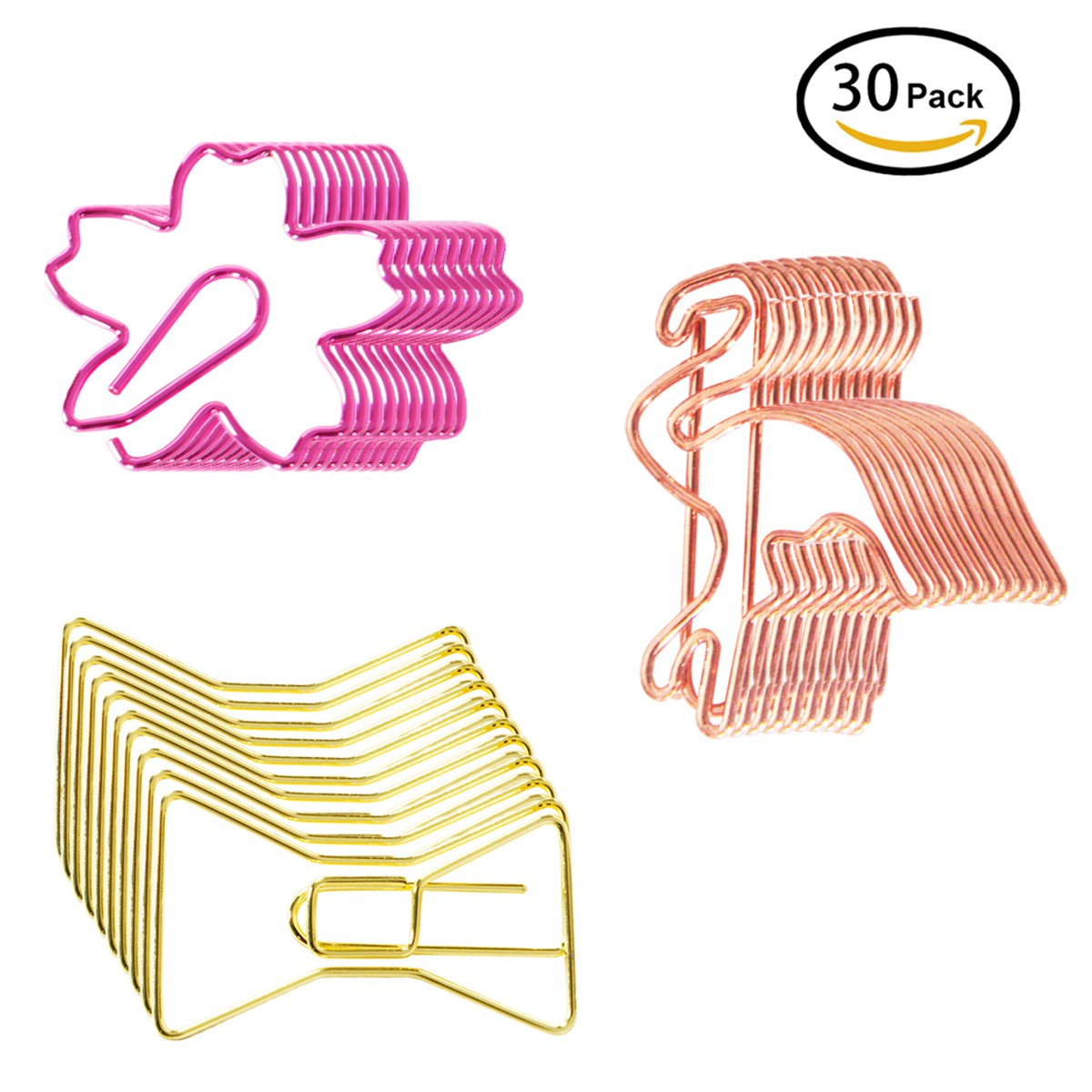 YMhome 30pcs Binder Clips Bookmarks Plated Gold Paperclips Photo File Document Clamps for School Kitchen Home Creative Office Supplies Plating Flamingo & Bow Tie & Cherrybloss