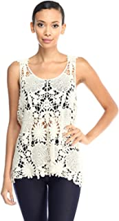 product image for Jubilee Couture Cocora Crochet Lace Knit Scoop Neck See Through Tank Top