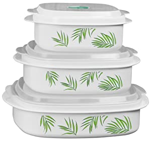 Corelle Coordinates by Reston Lloyd 6-Piece Microwave Cookware, Steamer and Storage Set, Bamboo Leaf