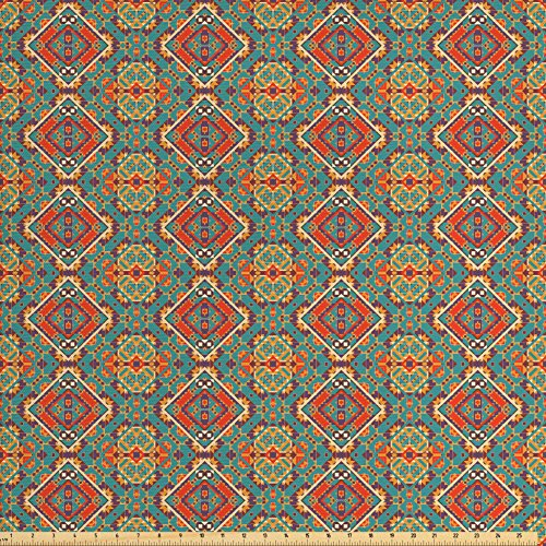 Ambesonne Turquoise Fabric by The Yard, Indigenous Art Drawing Folk Tile Tribal, Decorative Fabric for Upholstery and Home Accents, Turquoise and Orange from Ambesonne
