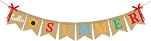 Hello Summer Burlap Banner Rustic Garland Decorations with Sunflower, Pool Beach Barbecue Hawaiian Party Decor Supplies